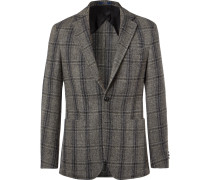 Grey Morgan Slim-fit Unstructured Suede-trimmed Checked Wool Blazer