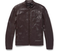 V Racer Slim-fit Leather Jacket - Dark brown