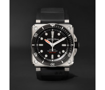 Diver Type Automatic 42mm Stainless Steel and Rubber Watch, Ref. No. BR0392-‐D-‐BL-‐ST/SRB
