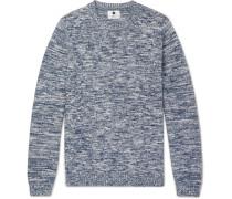 Kim Slim-fit Mélange Cotton Sweater - Blue