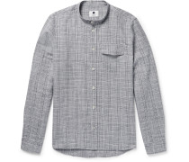 Stockholm Grandad-collar Checked Slub Cotton And Linen-blend Shirt