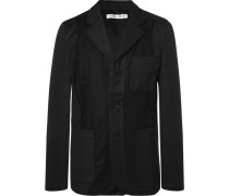 Black Slim-fit Unstructured Twill-panelled Wool Blazer