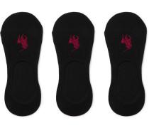 Three-pack Stretch Cotton-blend No-show Socks