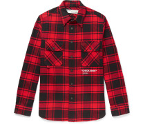 Printed Checked Cotton-blend Flannel Overshirt - Red