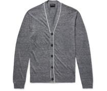 Slim-fit Mélange Slub Linen Cardigan - Gray