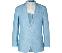 Light-blue Seishin Slim-fit Melangé Linen Blazer