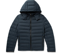 Slim-fit Leather-trimmed Quilted Shell Hooded Down Jacket - Navy