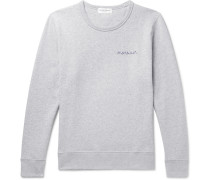 Embroidered Mélange Cotton-jersey Sweatshirt