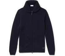 Shawl-collar Cashmere Zip-up Cardigan