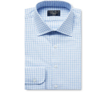 Gingham Brushed-cotton Shirt - Light blue