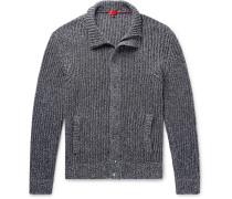 Slim-fit Ribbed Mélange Cotton Zip-up Cardigan - Storm blue