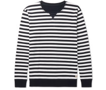 Striped Cotton-jersey Sweatshirt - Navy