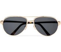 Santos De Cartier Aviator-style Leather-trimmed Gold-tone Sunglasses - Gold