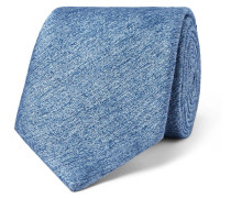 8cm Mélange Silk And Wool-blend Tie - Light blue