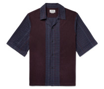 Camp-collar Panelled Cotton-flannel Shirt - Navy