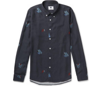 Falk Slim-fit Button-down Collar Printed Tencel Shirt