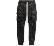 Slim-fit Tapered Stretch Leather And Cotton-blend Cargo Trousers