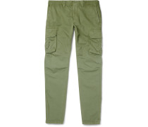 Slim-fit Cotton And Linen-blend Cargo Trousers - Green