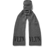 Valentino Garavani Logo-intarsia Virgin Wool And Cashmere Scarf - Gray