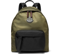 Leather-trimmed Nylon Backpack - Green