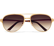 Santos De Cartier Aviator-style Leather-trimmed Gold-plated Sunglasses - Gold
