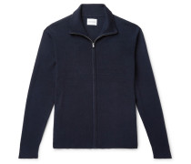 Fjord Slim-fit Merino Wool And Cotton-blend Zip-up Cardigan - Navy