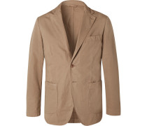 Tan Slim-fit Unstructured Garment-dyed Cotton Blazer - Beige