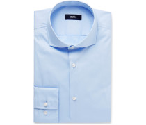 Blue Jason Slim-fit Cutaway-collar Stretch Cotton-blend Shirt
