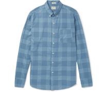 Button-down Collar Checked Cotton-blend Shirt