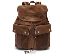 Leather-trimmed Suede Backpack - Brown