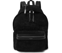 City Leather-trimmed Suede And Canvas Backpack