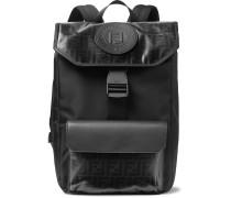 Leather-trimmed Logo-print Coated-canvas Backpack - Black
