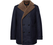 Double-breasted Shearling-trimmed Wool And Cashmere-blend Peacoat - Navy