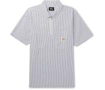 Striped Cotton-seersucker Half-zip Shirt - Gray