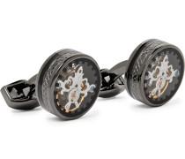 Tourbillon Gear Gunmetal-plated Cufflinks - Black