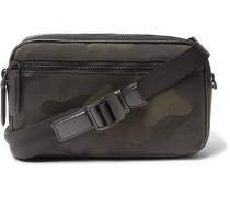 Leather-Trimmed Camouflage-Print Canvas Messenger Bag