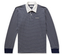 Sanders Twill-Trimmed Logo-Embroidered Striped Cotton Polo Shirt