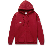 Oversized Embroidered Cotton-blend Fleece Zip-up Hoodie - Red