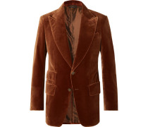 Rust Atticus Slim-Fit Cotton-Velvet Blazer