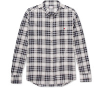 Button-down Collar Checked Herringbone Cotton Shirt