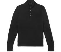 Slim-fit Merino Wool Polo Shirt - Black