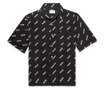 Camp-collar Logo-print Woven Shirt - Black