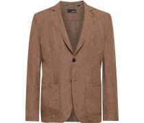 Tan Unstructured Linen Blazer