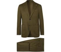 Navy Slim-Fit Linen-Blend Suit