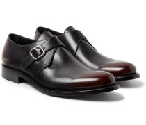 Bristol Polished-leather Monk-strap Shoes - Merlot