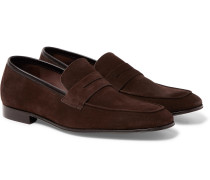 Glynn Suede Penny Loafers - Chocolate
