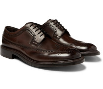 Felix Polished-leather Longwing Brogues - Dark brown