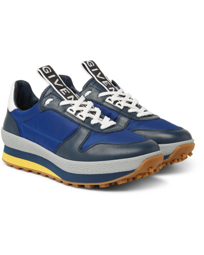 Tr3 Leather And Shell Sneakers - Navy