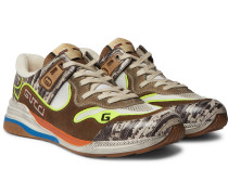 Ultrapace Distressed Suede, Mesh and Snake-Effect Leather Sneakers