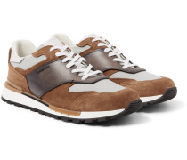 Run Track Leather, Suede And Nylon Sneakers - Brown